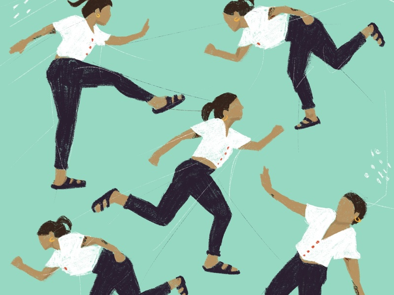 Rushing running girl pattern drawing color digital illustration