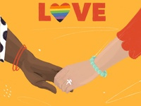 Love is love 2 hands pride month pride color digital illustration