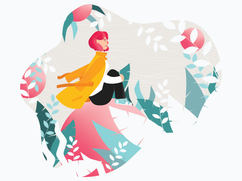 Onboarding Illustration - Relaxing Nature autumn winter geometry nature image background userexperience ux onboarding splashpage gradient spheres palettes branding vector design colorful digital illustration