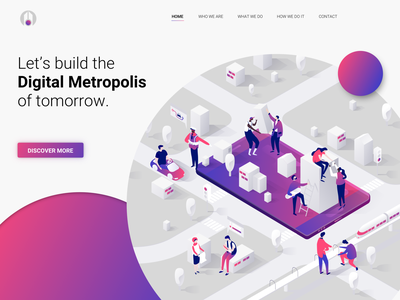 Hero Exploration: Smartcity visual colorful vector uidesign landingpage digital ux uiux logo menu screen splashpage circles illustration title button gradient ui smartcity hero