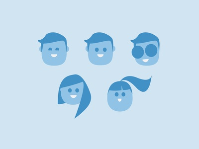 Charaters headshot flat blue characters