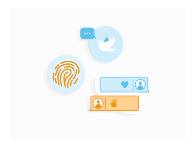 Peace Geeks Icons 2 volunteer chat talk security simple minimal sketch orange blue flat stickers peace