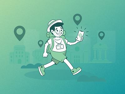 Traveller tour walk tourist travel cartoon person branding character design vector illustration drawing 2d