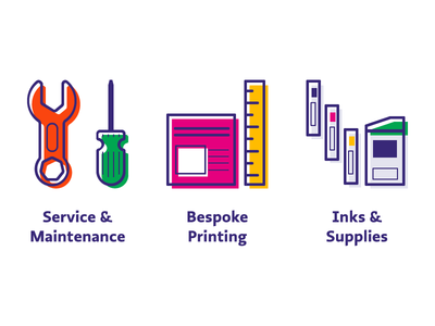 Printing Icons vector inks service offset icon printer printing