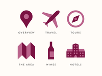 Wine tour icon set brand ui logo web design wine tour icon