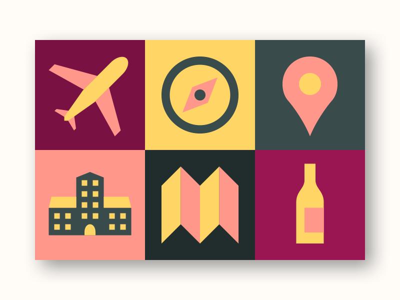 Wine tour colour icons colour brand ui logo web design wine tour icon