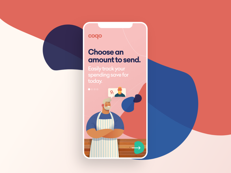Pay App ux illustration design landing ui iphone app logo color
