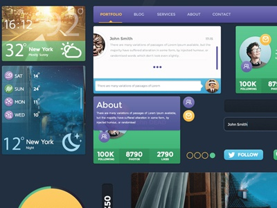 Free Color UI Kit weather ui ux kit style shop profil page color