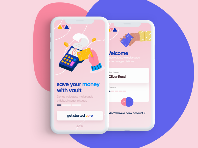 Core Money App food illustration ui landing page web iphone app logo color