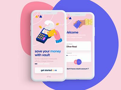 Core Money App food illustration ui landing page web iphone app logo color