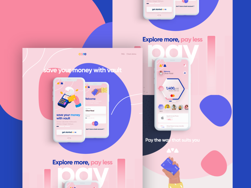 Core App responsive landing page web iphone app logo color