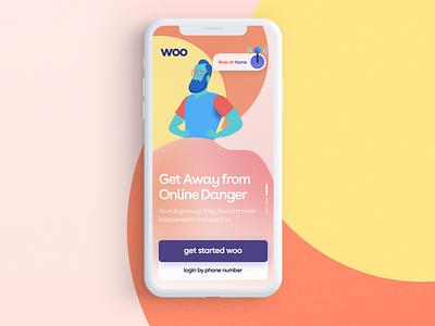 Kids woo dashboard landing ui page web iphone app logo color