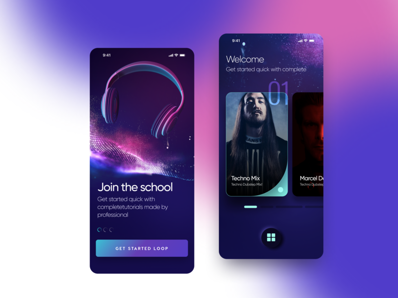 Music App time responsive landing ui page web iphone app logo color