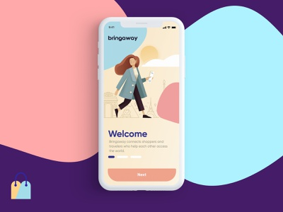 Travel App responsive landing ui page web iphone app logo color illustration