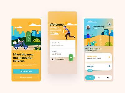 Delivery branding illustration design ui page web iphone app logo color