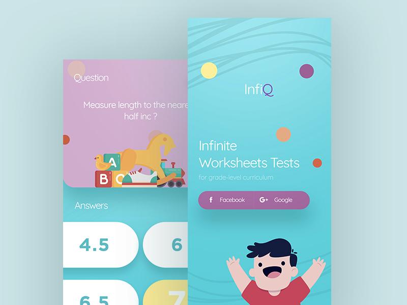 InfiQ Kids App ux ui web logo color x iphone app question