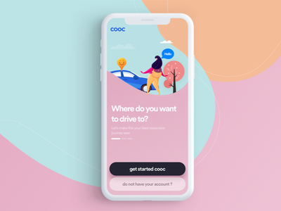 cooc car app car animation ux typography branding vector illustration icon ui iphone app logo color