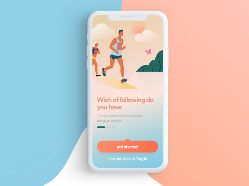 Fitness App ui ux vector landing page web iphone app logo color