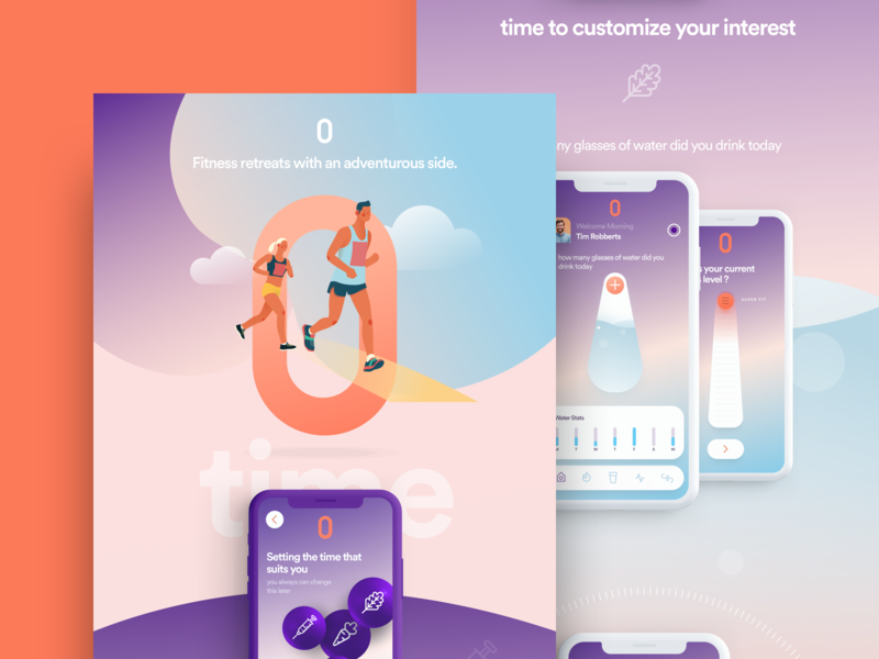 Landing Page Fitness dashboard illustration landing ui page web iphone app logo color
