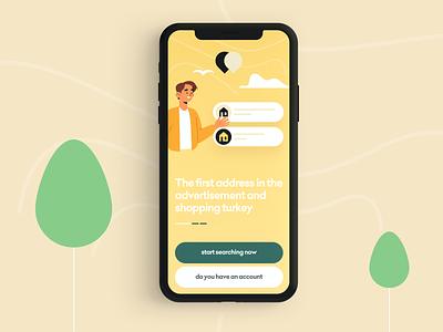 Advertisement App illustration e-commerce landing ui page web iphone app logo color