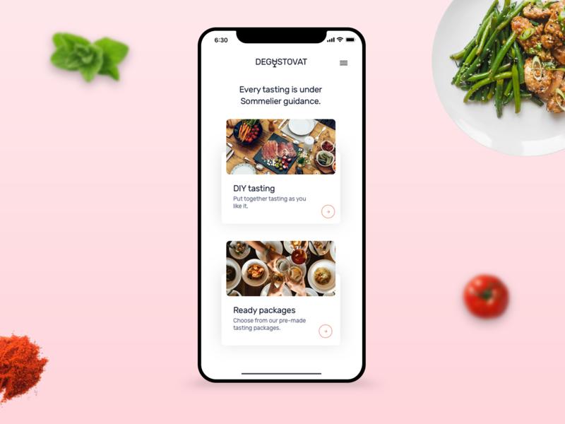 Tasting App 🍷🥘 order food app food typography ux ui clean design app