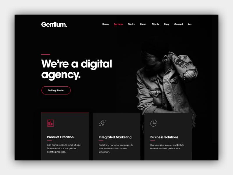 Gentium — A Creative Digital Agency Website app typography vector design digital strategy html5 wordpress ux ui sketch app digital marketing digital agency