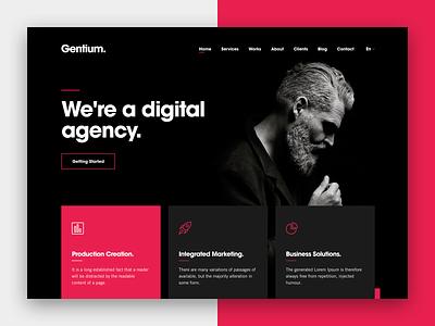 Gentium for Creative Digital Agencies - Dark Version illustration typography html5 digital strategy design wordpress ui ux digital marketing sketch app digital agency