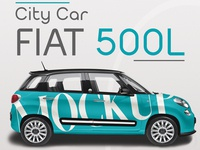 Realistic City Car FIAT 500L Mockup