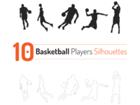 Basketball Players Outline Silhouette