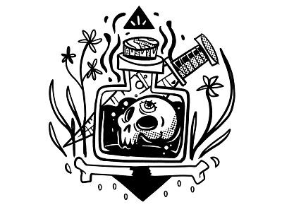 Black Magic comic line drawing ink skull spooky unorthodox occult voodoo black magic