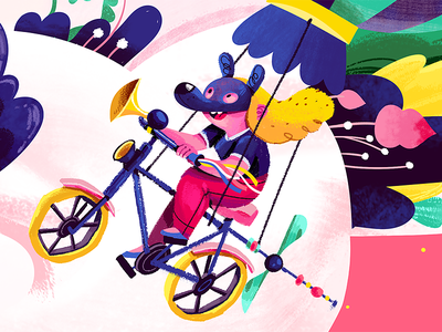 Flying Bike character design child kid balloon pink illustration drawing painting character
