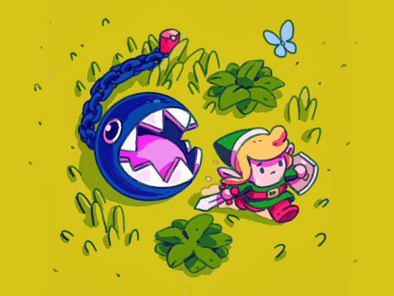 Link's Awakening character drawing illustration bow wow link switch zelda nintendo