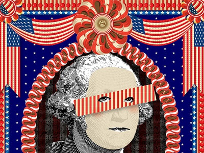 Father of Our Country america american george washington qcassetti re white red blue starts flags adobe illustrator.