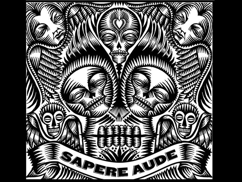 Sapere Aude day of the dead memento mori skulls black and white qcassetti 2014