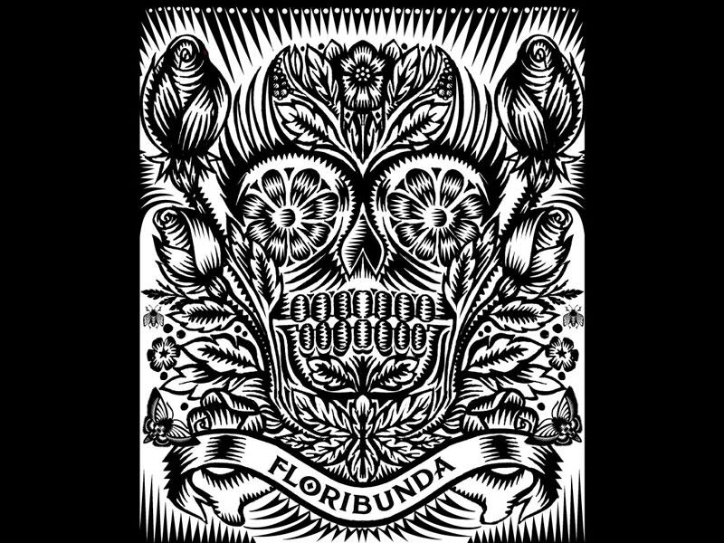 Florabunda flower day of the dead memento mori death skull qcassetti 2014