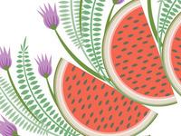 detail, watermelon wreath