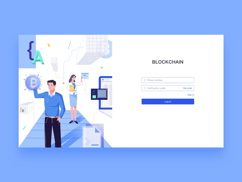 Blockchain log in technology ui blockchain log in design illustration