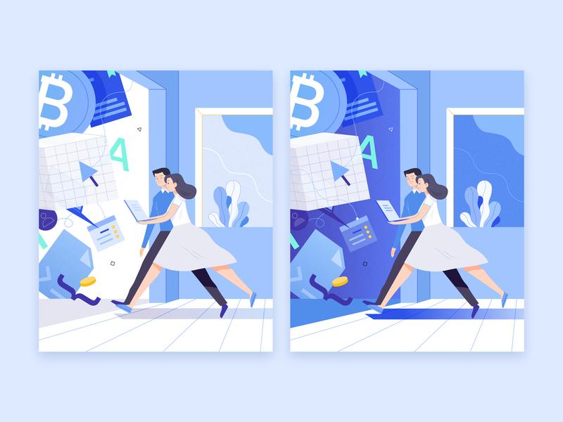 Blockchain block chain design illustration