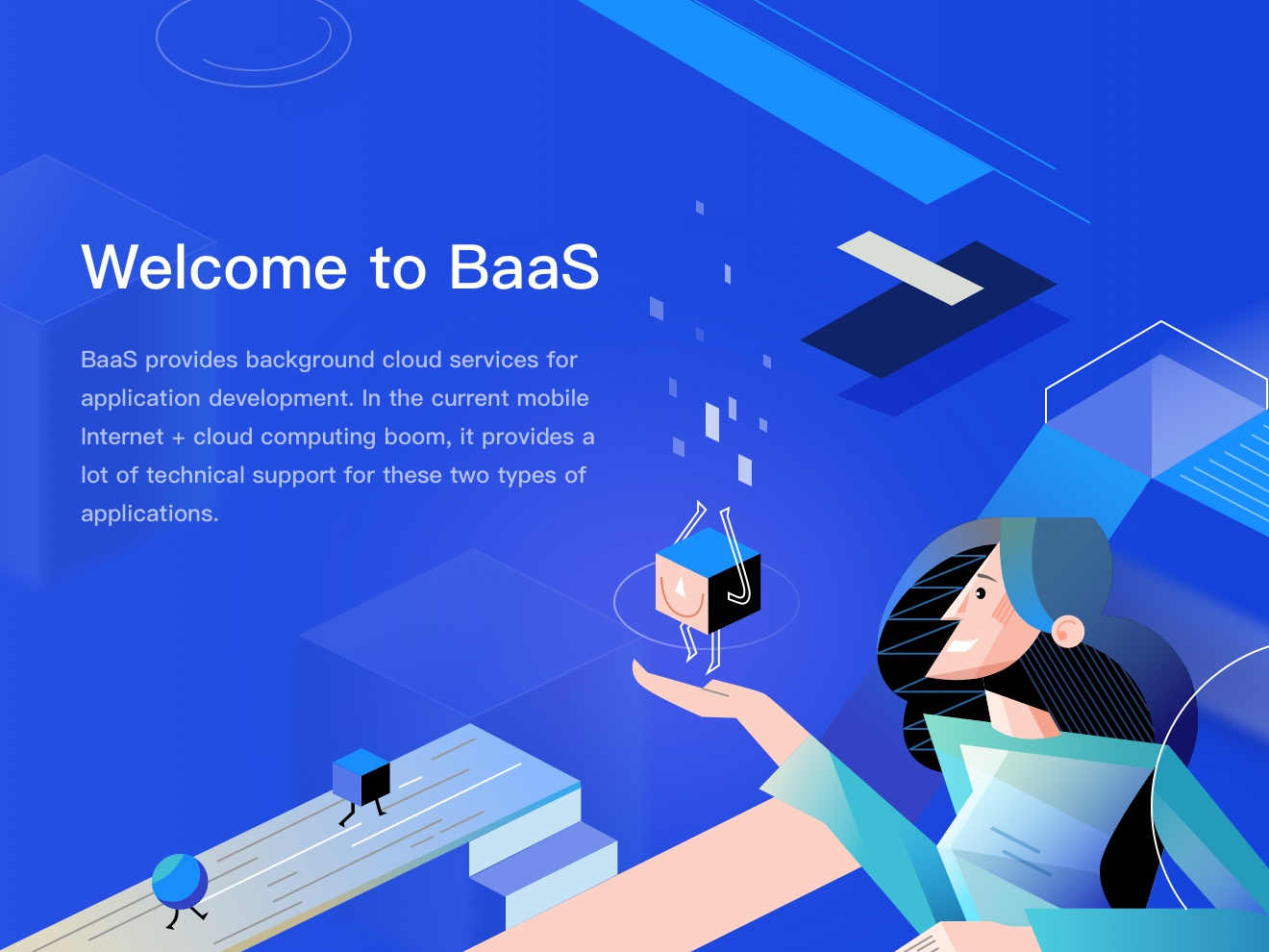 BaaS digital blockchain technology illustration design