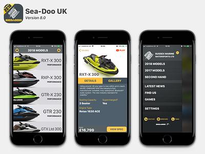 Sea-Doo UK v8.x app design ui