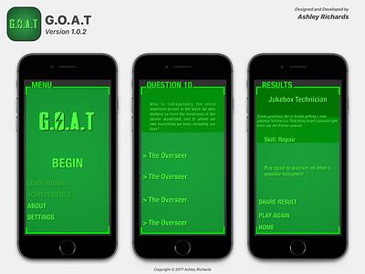 The G.O.A.T. version 1.x (2015) ui design app