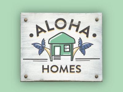 Aloha Homes beachhouse palm trees aloha home beach sign illustration logo