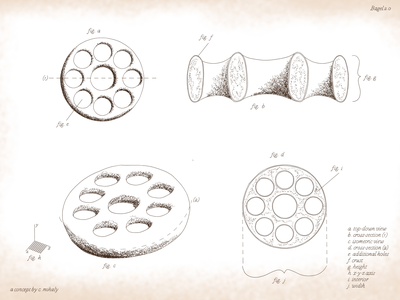 Bagel 2.0 da vinci invention label labels bakery bread vintage antique old schematics diagram culinary baking bagel