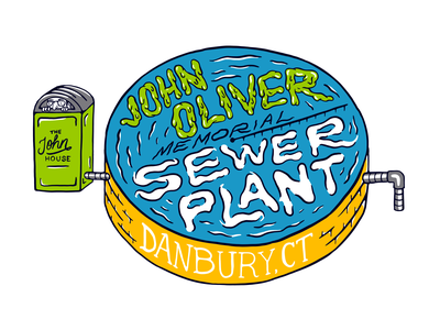 John Oliver Memorial Sewer Plant Illustration outhouse comedy funny design sewage plant sewer typography type illustration danbury ct danbury connecticut ct last week tonight hbo