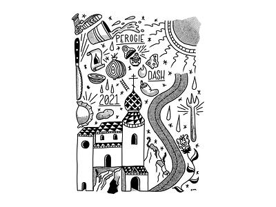 Perogie Dash 2021 poster jesus christ bible typography type design illustration lettering black and white jalapeno pirohi perogie church tattoo flash flash art tattoo