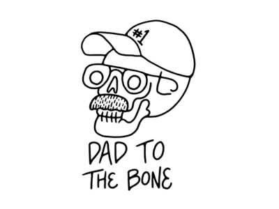 Dad To The Bone 💀 funny mustache bones bone skull father dad
