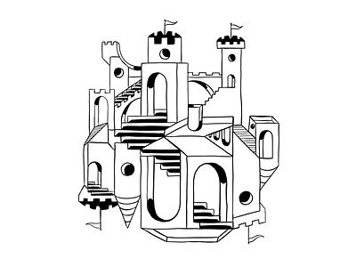 High Fantasy black and white illustration trippy castle mc escher escher