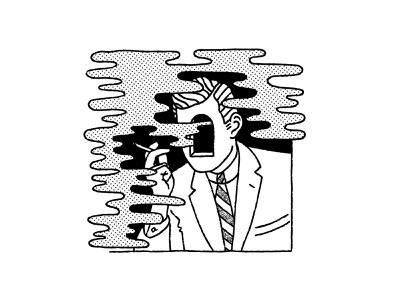 Release tattoo door portal digital illustration drawing comic texture white black black and white tie suit man cigarette smoking smoke illustration
