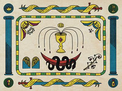 Mary as The Ark of the Covenant - Christmas Card print comic pulp jesus illustration christ xmas christmas bible new testament old testament symbolic symbol symbolism design theotokos virgin mary orthodox