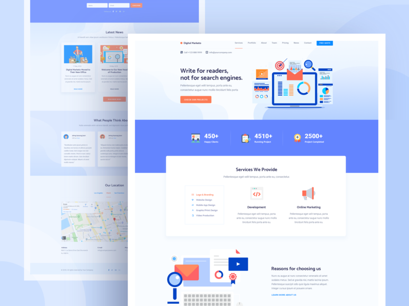 Illustrated One Page Agency by Rafayel Hasan for Axilweb on Dribbble
